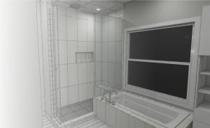 3D rendered design of bathroom ensuite